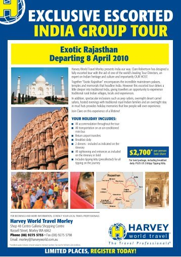 limited places, register today! exclusive escorted india group tour