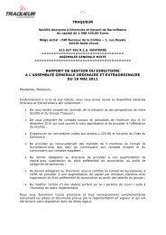rapport de gestion - Groupe TRAQUEUR