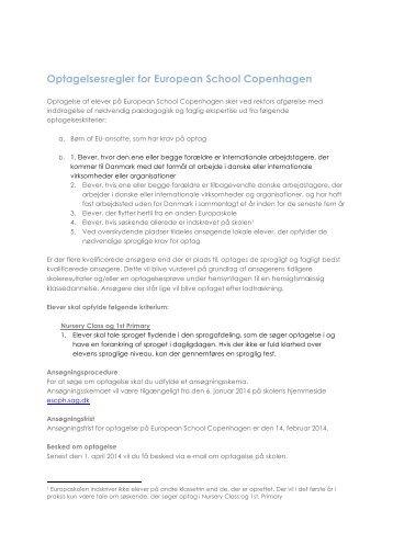 Brev om optagelsesregler - Europaskolen - Sankt Annæ Gymnasium