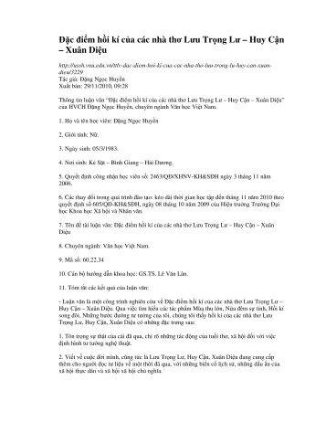 Ðặc điểm hồi kí của các nhà thơ Lưu Trọng Lư – Huy Cận – Xuân ...