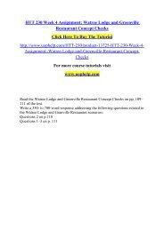 HTT 230 Week 4 Assignment Watree Lodge and Greenville Restaurant Concept Checks /Uophelp