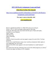 HTT 230 Week 6 Assignment Loans and Equit /Uophelp