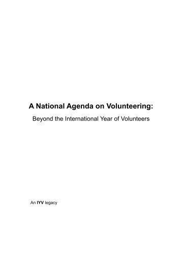 A National Agenda on Volunteering in Australia: Beyond ... - ISV 2001