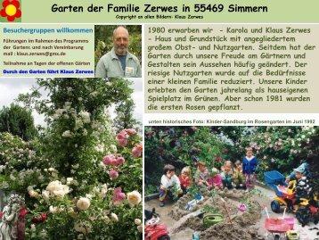 Willkommen im Garten der Familie Zerwes in Simmern
