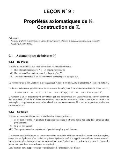 Propria C Ta C S Axiomatiques De N Construction De Z Capes De Maths