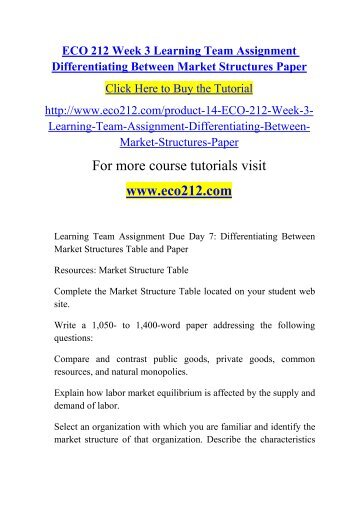 differentiating between market structures table and paper Read the instructions in the university of phoenix material: differentiating between market structures located on the student website and select one option to.
