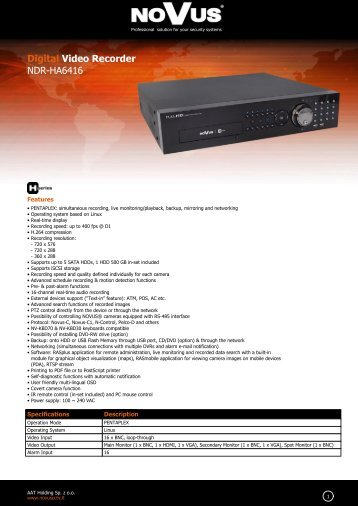 Digital Video Recorder NDR-HA6416 - NOVUS