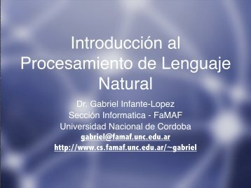 Introducción al Procesamiento de Lenguaje Natural - cs@famaf