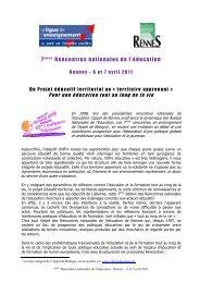 Du Projet éducatif territorial au « territoire apprenant » - Education et ...