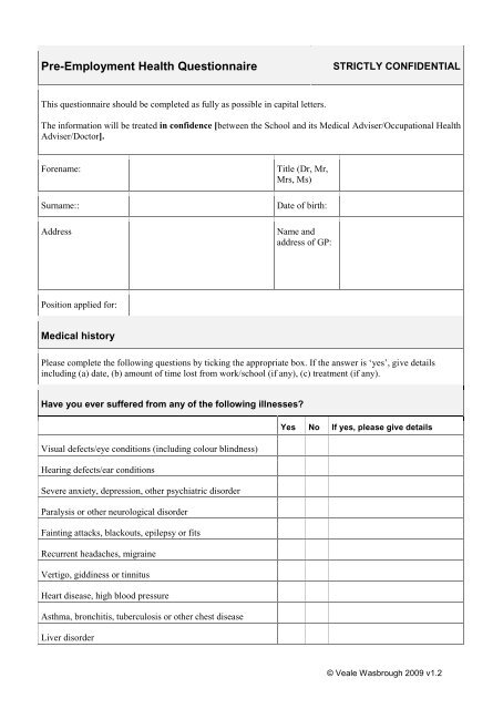 Pre Employment Questionnaire Template from img.yumpu.com