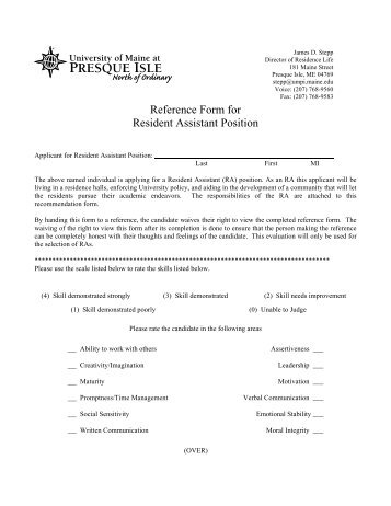 Application Reference Forms - University of Maine at Presque Isle