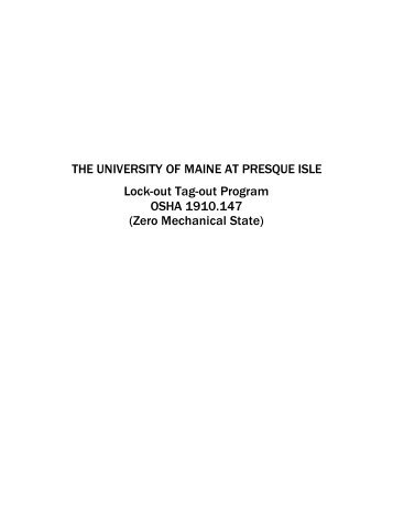 Lockout/Tagout Program - University of Maine at Presque Isle