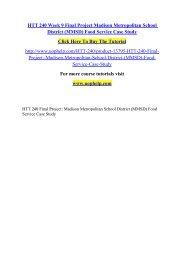 HTT 240 Week 9 Final Project Madison Metropolitan School District (MMSD) Food Service Case Study /Uophelp