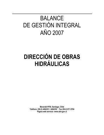 Balance de Gestión Integral 2007 - Dirección de Obras Hidráulicas