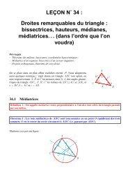 LEÇON N˚ 34 : Droites remarquables du triangle ... - CAPES de Maths