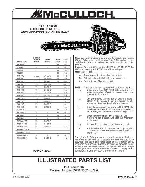 McCulloch Chainsaw Parts List 211594-03 - Barrett Small Engine