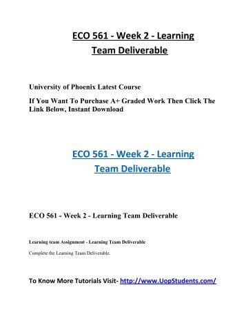 week 6 team reflection eco 561 Eco 561 week 1 to 6 all dqs and assignments eco 561 week 5, learning team reflection eco 561 week 6, individual assignment, final proposal paper.