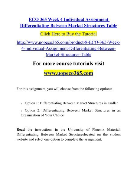differentiating between market structures table