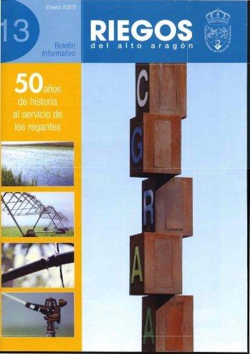 Boletín Informativo nº 13 (Enero de 2003) - Riegos del Alto Aragón