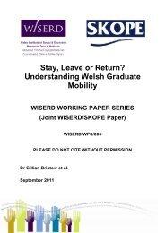 Stay, Leave or Return? Understanding Welsh ... - Cardiff University