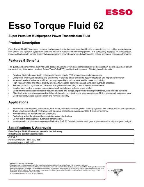 Esso Torque Fluid 62 (PDF) - Lindberg & Lund AS