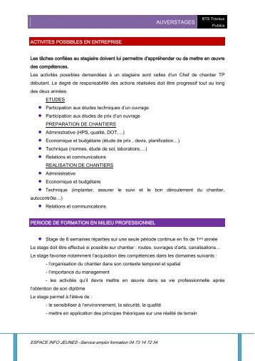 BTS Travaux Publics - Espace Info Jeunes
