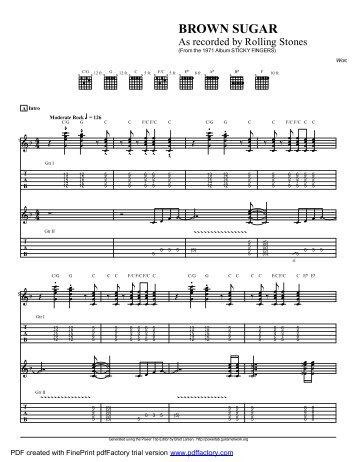 """Brown Sugar "" (PDF) - Guitar Alliance"