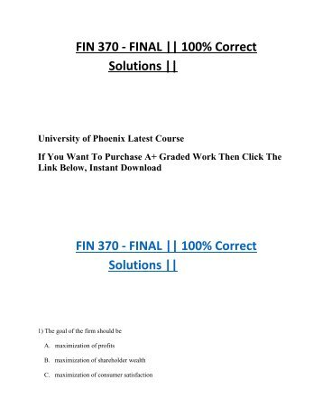 FIN 370 FINAL Exam 100% Correct Answer UOP Students