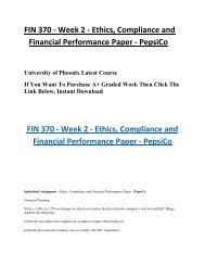 FIN 370 Week 2 Ethics, Compliance and Financial Performance Paper UOP Students