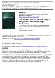 The Bologna process and the study of religion\s in - Michael Stausberg