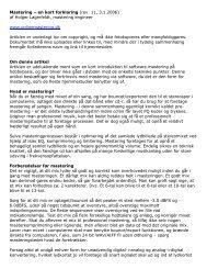 Mastering – en kort forklaring (rev. 11, 3.1.2006) af ... - Soundcheck