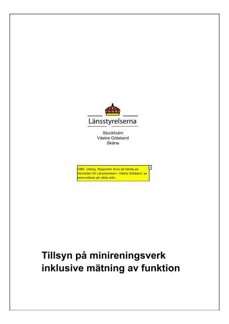 Tillsyn på minireningsverk inklusive mätning av funktion