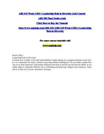 ABS 415 Week 4 DQ 1 Leadership Role in Diversity.pdf
