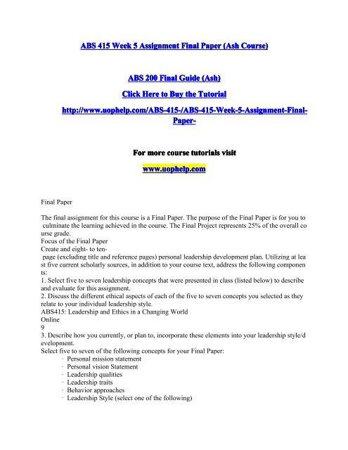ABS 415 Week 5 Assignment Final Paper pdf