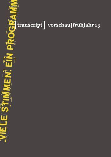 Vorschau Herbst 2012 - transcript Verlag