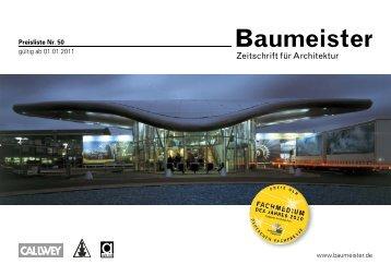 Preisliste Nr. 50 gültig ab 01.01.2011 www.baumeister.de