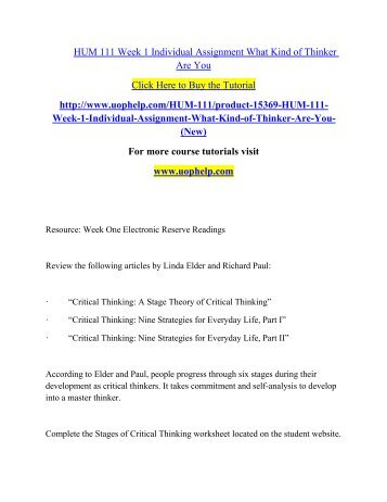 hum/111 stages of critical thinking worksheet