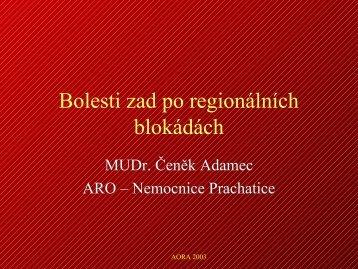 Bolesti zad po regionálních blokádách