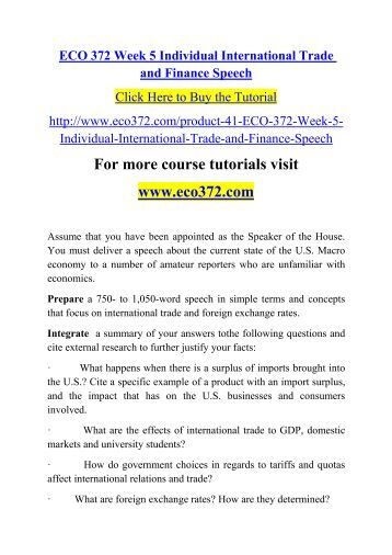eco 372 week five international trade and finance speech