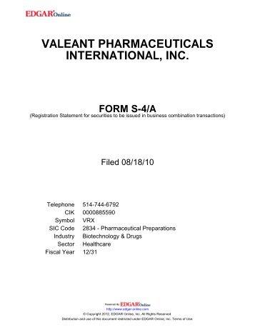 valeant pharmaceuticals international, inc. form s-4/a