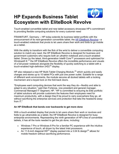 Hp Expands Business Tablet Ecosystem With Elitebook Revolve