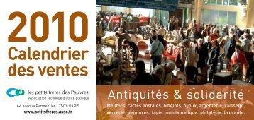 Calendrier des ventes solidaires 2010 - petits frères des Pauvres