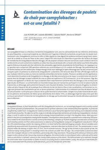 Contamination des élevages de poulets de chair par campylobacter ...
