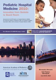 Pediatric Hospital Medicine 2010: - Academic Pediatric Association