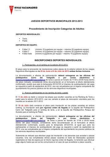 consulta el procedimiento de inscripción - Ayuntamiento Rivas ...