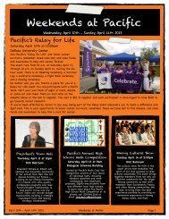 Weekends at Pacific April 10-14 - University of the Pacific