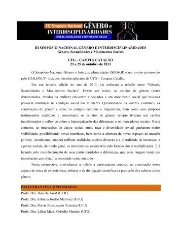 iii simpósio nacional gênero e interdisciplinaridades - sinagi - UFG