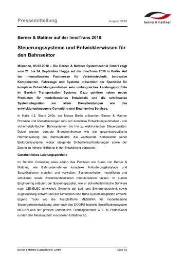 Pressemitteilung Steuerungssysteme und ... - Berner & Mattner
