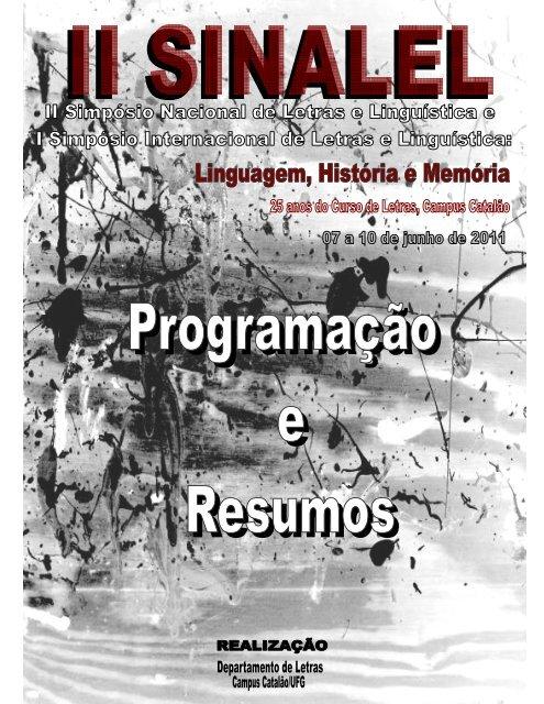 51337f435 resumos - Letras-II SINALEL - UFG