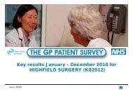 The GP Patient Survey - January - December 2010 - Highfield Surgery